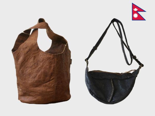 ネパール ビレッジレザーのバッグ展